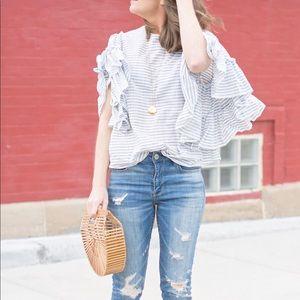 Who What Wear pretty ruffle sleeve blouse!